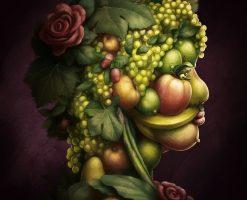 Ilustracion pintura oleo retrato vegetales