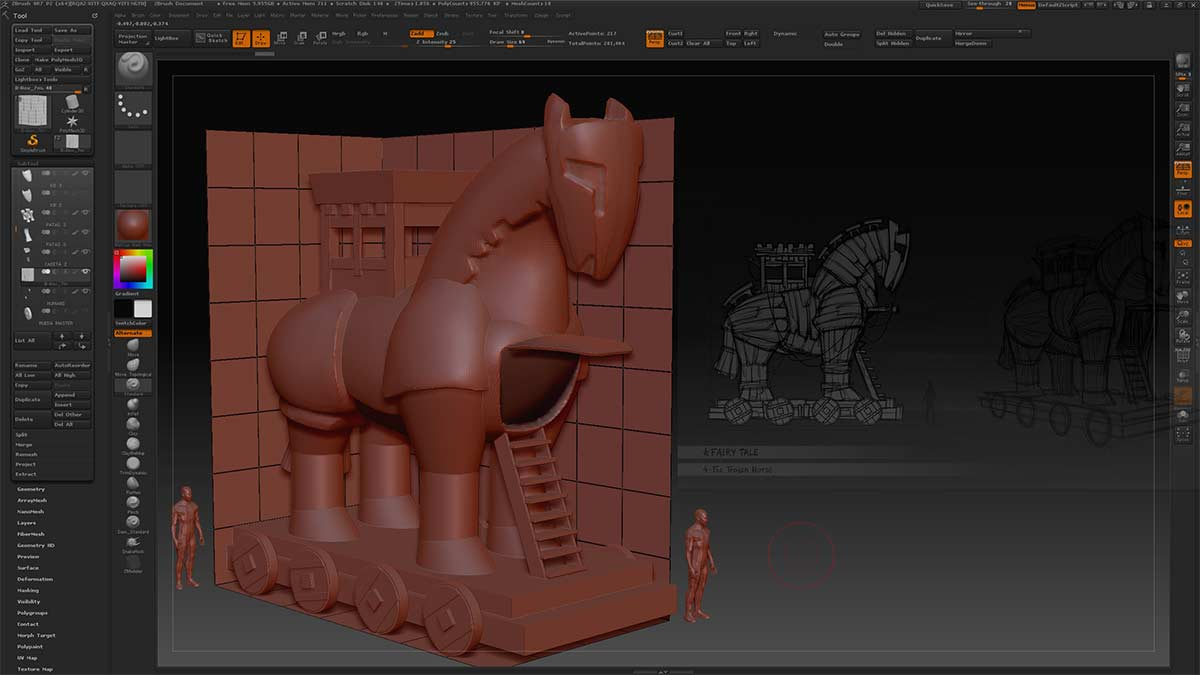 ZBrush base mesh for illustration
