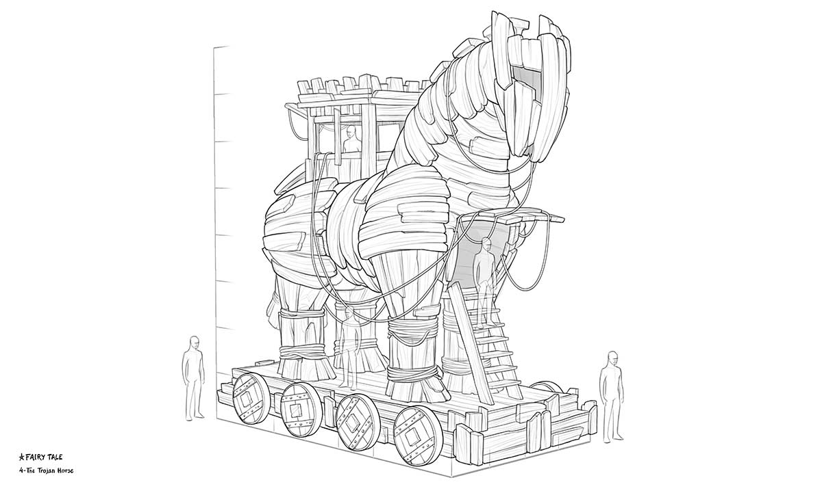 Line drawing. float theme tojan horse
