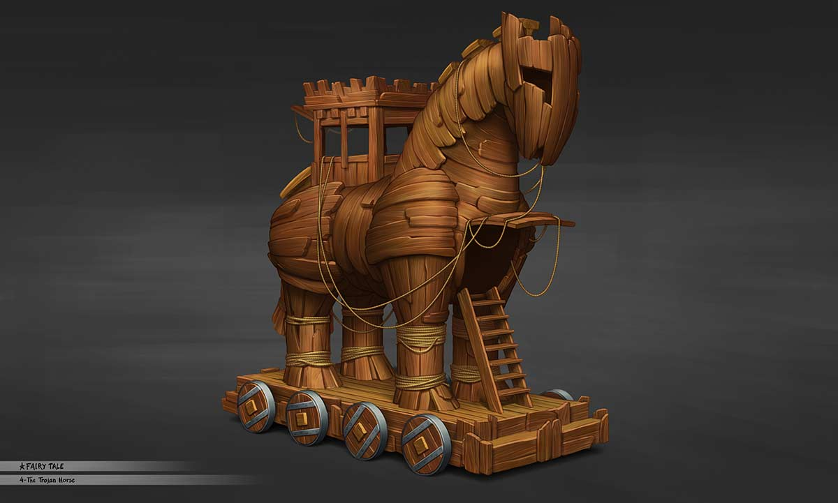 3D illustration trojan horse float