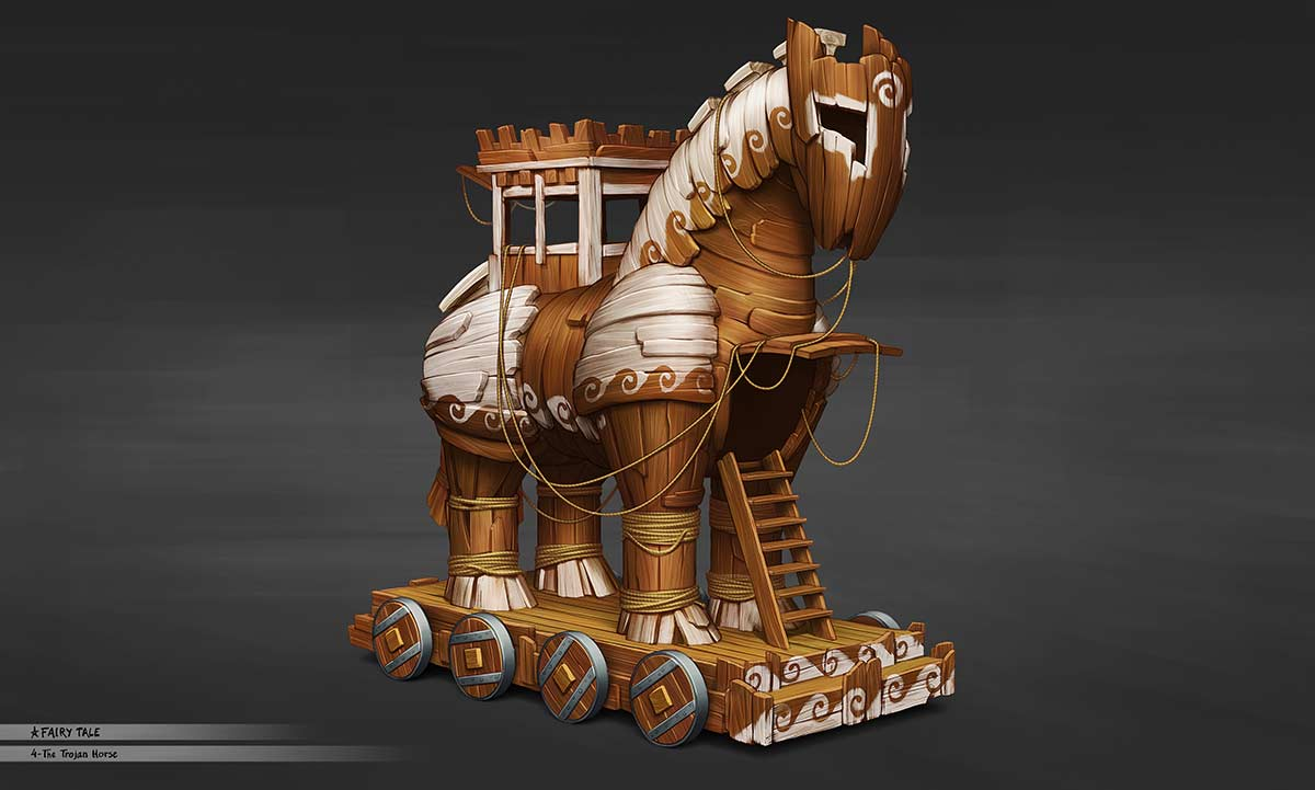 concept art illustration float parade theme park trojan horse