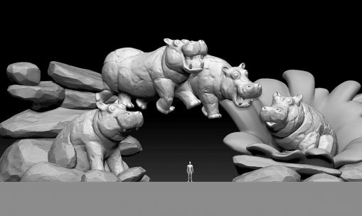 3D Sketch theme park hippos entrance
